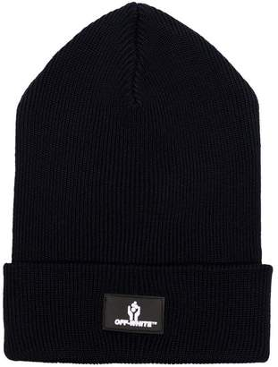 Off-White black logo knitted wool beanie hat