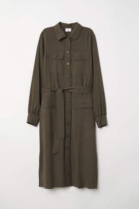 H&M Long Shirt Dress - Dark khaki green - Women