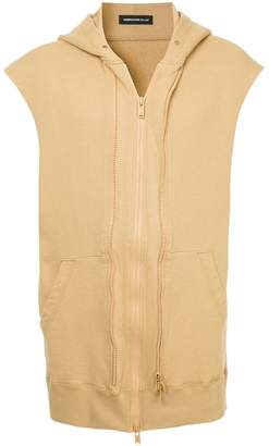 Undercover back print sleeveless hoodie