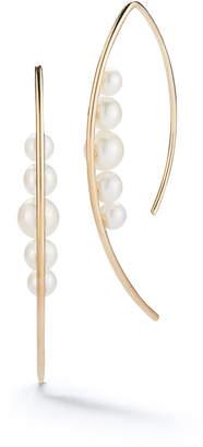 Mizuki 14l Five-Pearl Marquise Hoop Earrings