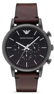 Emporio Armani Quartz Chronograph Brown Leather Watch, 46 mm