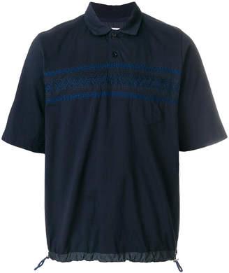 Sacai pintuck embroidered drawstring polo shirt