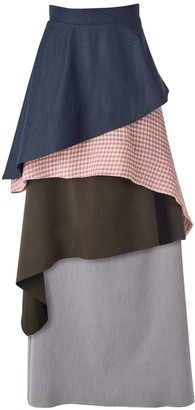 Daneh Waterfall Skirt Gingham Pink & Blue