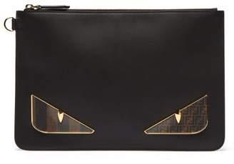 Fendi Bag Bugs Leather Pouch - Mens - Black Multi