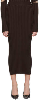 Helmut Lang Brown Rib Skirt