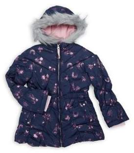 Jessica Simpson Little Girl's Metallic Sky Faux Fur Trim Coat