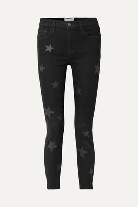 Current/Elliott The Stiletto Printed High-rise Skinny Jeans - Black