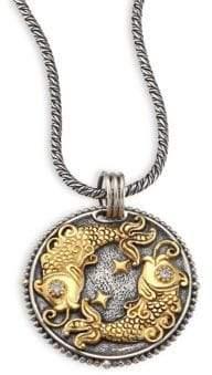 Konstantino Zodiac Diamond, 18K Gold& Sterling Silver Pisces Charm Pendant
