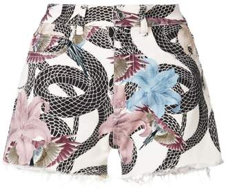 Marcelo Burlon County of Milan Flowers Snakes denim shorts