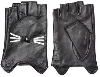 Karl Lagerfeld K/Ikonik Embellished Fingerless Leather Gloves