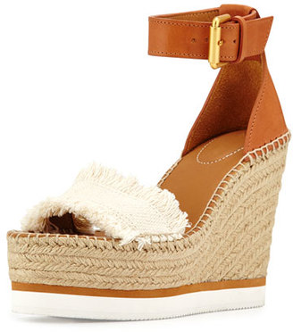 See by Chloe Glyn Canvas & Leather Espadrille Sandal, Cream/Tan $190 thestylecure.com
