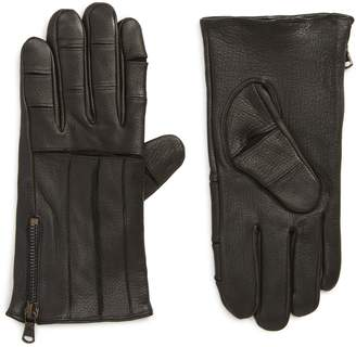 John Varvatos Articulated Zipper Leather Gloves