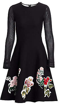 Oscar de la Renta Women's Embroidered Fit-&-Flare dress