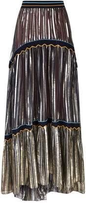 Peter Pilotto Metallic Pleated Maxi Skirt