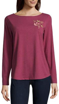 ST. JOHN'S BAY Long Sleeve Boat Neck Pattern T-Shirt-Womens