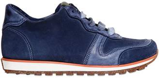 Leather And Suede Running Sneakers