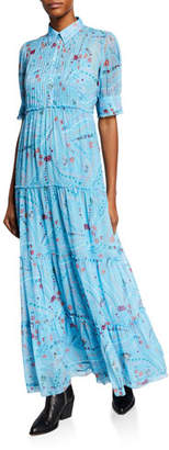 Zadig & Voltaire Rapidel Pleated Tiered Crepe Maxi Dress