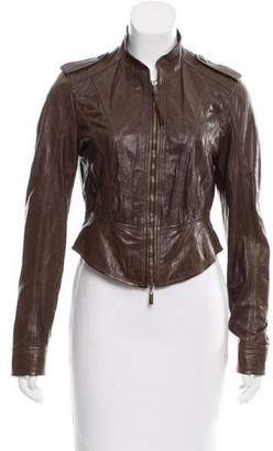 Just Cavalli Zip-Up Leather Jacket