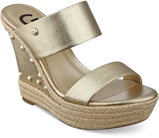 G by GUESS Decaf Espadrille Wedge Sandals $59 thestylecure.com