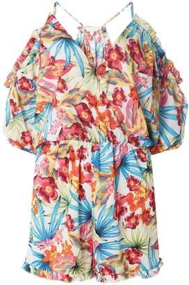 Dorothy Perkins Womens *Dp Beach Ivory Tropical Print Playsuit
