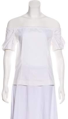 Prada Short Sleeve Off-The-Shoulder Top