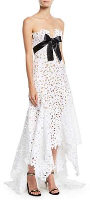 Oscar de la Renta Strapless Eyelet-Lace Evening Gown w/ Satin Bow