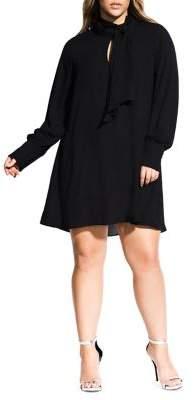 City Chic Plus Neck-Tie Long Sleeve Tunic Dress