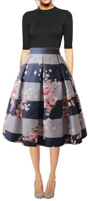 Hanlolo Women's Floral A-Line Skirts Pleated Flared Knee Length Midi Skirt Dress A-Floral 10/XL