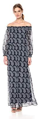 Taylor Dresses Women's 3/4 Length Sleeve Clip dot Metallic Chiffon Maxi