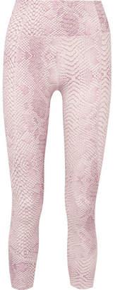 Varley Kensington Cropped Snake-print Stretch Leggings - Pink