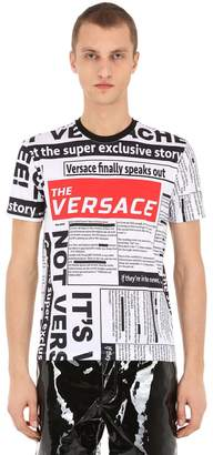Versace All Over Tabloid Printed Jersey T-Shirt