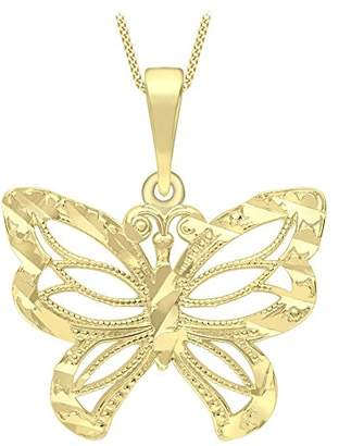 Carissima Gold 9ct Yellow Gold Diamond Cut and Milgrain Butterfly Pendant Necklace of Length 46cm 2K1jCOOlyY
