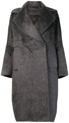 Max Mara faux fur lapel coat