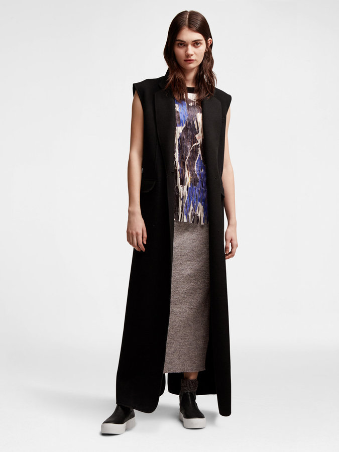 DKNYBonded Wool Sleeveless Long Coat