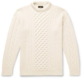 Dunhill Cable-Knit Merino Wool Mock-Neck Sweater - Men - Cream