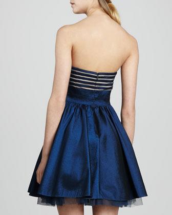 Aidan Mattox Aidan by Strapless Flared Cocktail Dress, Deep Sapphire