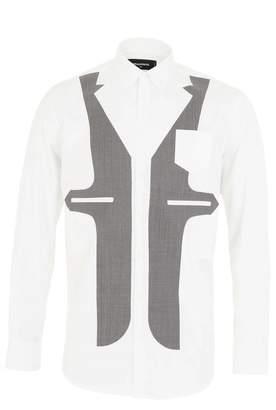 DSQUARED2 Dsquared White Waist Coat Print Shirt