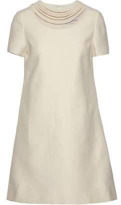 Valentino Cutout Wool And Silk-Blend Crepe Mini Dress