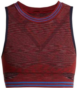 Lndr - Space Seamless Cotton Blend Crop Top - Womens - Burgundy Multi