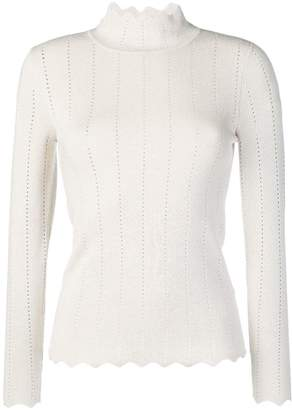 Steffen Schraut scalloped turtleneck jumper