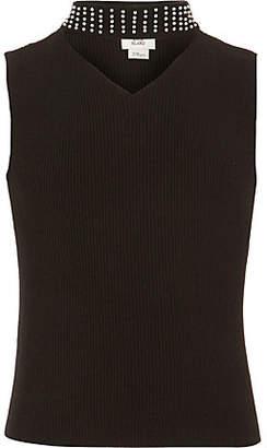 River Island Girls black embellished choker top