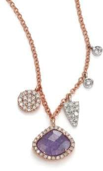 Meira T Tanzanite, Mother-Of-Pearl, Diamond& 14K Rose Gold Doublet Pendant Necklace