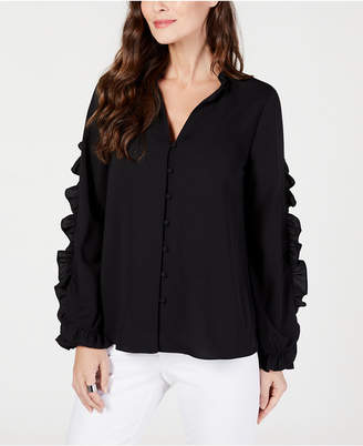 Alfani Ruffle Trim V-Neck Blouse