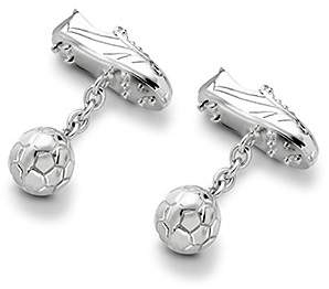 Aspinal of London Sterling Silver Football Boot Cufflinks