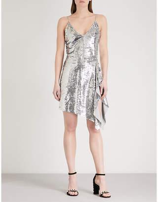 Mo&Co. Asymmetric-hem sequin dress