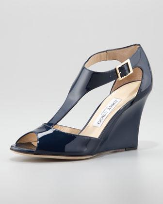 Jimmy Choo Token Patent T-Strap Wedge Sandal, Navy