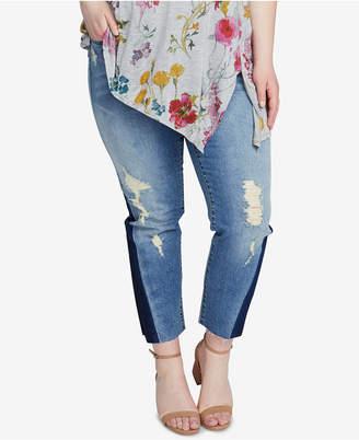 Rachel Roy Trendy Plus Size Two-Tone Jeans
