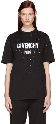 Givenchy Black Destroyed Logo T-Shirt