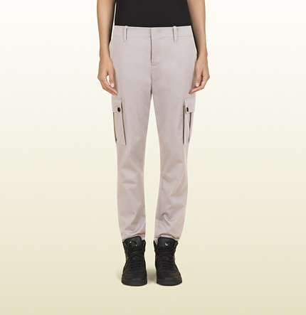 Gucci Women's Grey Stretch Light Cotton Cavalry Multi-Pocket Cargo Pant From Viaggio Collection
