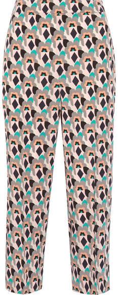 Prada - Cropped Printed Silk Crepe De Chine Straight-leg Pants - Mushroom